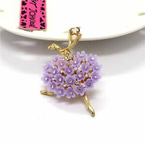 Betsey Johnson Purple Charm Ballet Dance Girl Rhinestone Resin Woman Brooch Pin