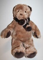 "NAP Brookstone Brown Tan Plush Baby TEDDY BEAR 14"" Scarf Stuffed Animal Soft Toy"
