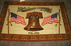 "Vintage 1976 American Bicentennial Flannel Cloth Wall Hanging 38"" x 59"" VGC"