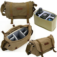 Vintage Canvas DSLR Camera Shoulder Bag Messenger Bag Padded Daypack Schoolbag