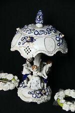 German PLAUE schierholz porcelain Lamp group figurines dancing blue white signed