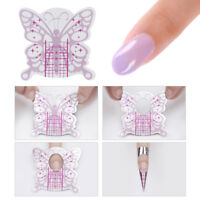 100pcs Pink Butterfly Shape Nail Forms UV Gel Nail Tips Extension Manicure Tools