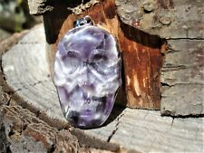 LARGE CHEVRON Amethyst SKULL Silver Pendant-RARE-ONE OF A KIND! Knowledge-Power