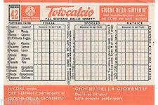 SCHEDINA TOTOCALCIO INTONSA=CONCORSO N°42 DEL 7/6/1981