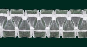 Smokband - Schmuckfalte - Reihband, 50 mm, transparent, var. / Aufmachung 10 m