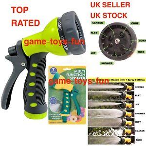 Multi Function Sprayer Garden Hose Pipe Water Universal Nozzle Spray Gun Grip UK