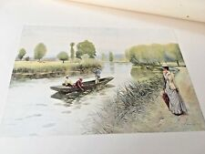 5 Antique Colorized Photogravure Prints, 19th Century Paintings