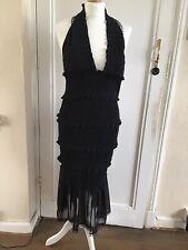 Mahima Exim  Shirred Midi V-neck Woven Maternity Evening Dress Black Size UK10