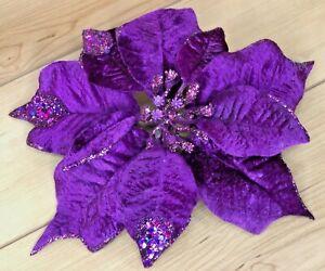 """Pier 1 Imports Poinsettia 10"""" Purple Glitter Velvet Clip Christmas Ornament"""