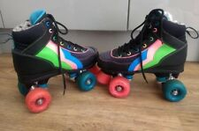 Rio Roller Passion Skates Black & Multi UK Size 3 Eur 35.5 Retro Quad Skates