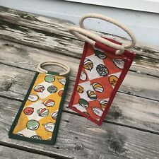 Two Jute Wine Gift Bags