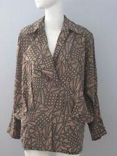 JAC DALE Size 6 (36) Brown Multi-Print Long Sleeve V-Neckline Blouse