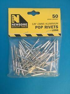 """NEWSOME TOOLS POP RIVETS 1/8"""" & 3/16"""" MEDIUM AND LONG ALUMINIUM PACK 50"""