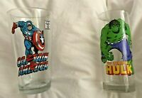 Set Of 2 Marvel Comics Glasses-The Incredible Hulk & Captain America