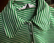 4 4T True Vtg 70s GIRLS GREEN STIPE POLYESTER STERTCH KNIT LS POLO Top