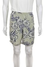 PATAGONIA Swim Trunks XL Green Blue White Floral Suit Elastic Waist Shorts Surf