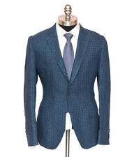 PORTO BESPOKE Navy Plaid Linen Unconstructed Slim 2Btn Coat Jacket 50 40 R NWT