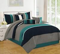 DCP 7 Piece Bed in Bag Microfiber Luxury Comforter Set, Queen, Blue