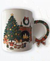 Vintage Christmas Scene Christmas Mug With Decorative handle