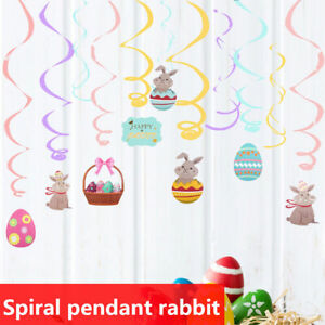 Easter Cartoon Egg Rabbit Spiral Ornaments Decoration Party Hanging Decoration