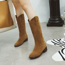 Ladies Chunky Low Heels Mid Calf Boots Round Toe Faux Suede Pull On Boots Shoes