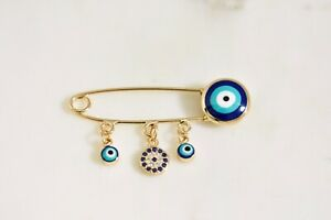 Evil Eye Baby Pin Blue Rose Gold Protection Lucky Pin Charm Brooch for Baby