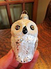 BLOWN GLASS WHITE OWL CHRISTMAS ORNAMENT