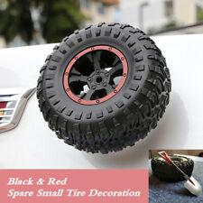 Car Trunk Mini Small Spare Rubber Tires Sticker w/ Metal Shovels 3D Stereo Decor