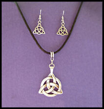 TRIQUETRA -   PENDANT AND EARRING SET - ON 3MM ADJUSTABLE WAXED CORD