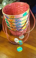 Set of 5 Weaved Wooden Wicker Easter Baskets Pink w/ Egg Graphics Round NOS