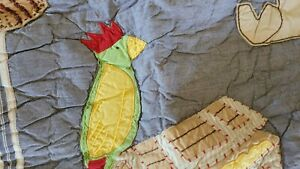 NEW POTTERY BARN KIDS PIRATE PARROT TREASURE COVE QUILTED BED SHAM  STANDARD