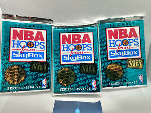 1994-95 NBA Hoops Series 1 Basketball Card Packs 3 x Sealed Packets
