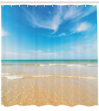 Sea and Sky Landscape View Image Sandy Shore Beach Themed Shower Curtain Set