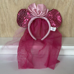 Build-A-Bear Disney Minnie Mouse Veil Pink Sequin Bow Headband Mickey Ears