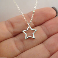 Small Star Outline Necklace - 925 Sterling Silver Gift Charm Celestial Stars NEW