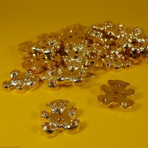 Gold Teddy Bear - 2 Hole Plastic Buttons - (9,18 or 36 per bag) (13mm x 20mm)