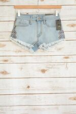 NWT Mossimo DISTRESSED floral embroidered HIGH rise short denim shorts, 0/25