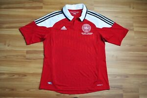 DENMARK NATIONAL TEAM 2012/2013 HOME FOOTBALL SHIRT JERSEY ADIDAS SIZE LARGE RED