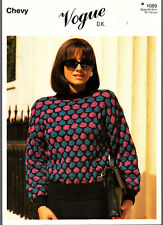 Knitting Pattern, Chevy,, Ladies  Sweater, 1089, 30-45in