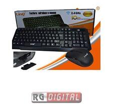 KIT MOUSE E TASTIERA WIRELESS 2.4GHz DESKTOP WI FI USB LINQ mk1338