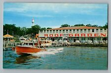 Arnolds Park Iowa IA Roof Garden Coke Sign Cars Water Tower Boats Postcard 1950s