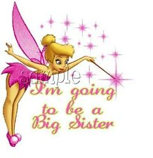IRON ON TRANSFER I'm going to be a big sister pink tinkerbell 12x14 personalised