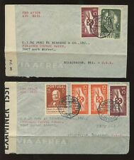 PORTUGAL 1941 CENSORED 2 DIFF.RATES AIRMAIL to DELAWARE USA...ROWLAND HILL + AIR
