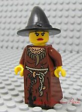 NEW Lego Brown Dress/Skirt FEMALE WITCH MINIFIG Halloween Castle Troll Black Hat
