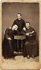 CDV Three priests wags Italy Rome Catholic religion Vatican 1870c