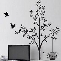 Tree Flower Plants Birds Leaf  Window Wall Arts stickers Wall decal Bedroom deco