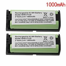 2x 1000mAh Replacement Battery For Panasonic Hhr-P105A Hhr-P105 Cordless Phone