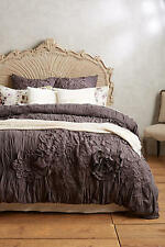 NWT ANTHROPOLOGIE GEORGINA DARK GREY KING DUVET COVER + 2 STANDARD SHAMS
