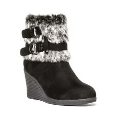 Womens Wedge Boot Faux Fur Boot in Black by Lilley Size UK 3,4,5,6,7,8