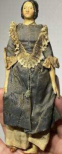 """Early Antique 7"""" Miniature Paper Mache Milliners Model Doll Hairdo All Original"""